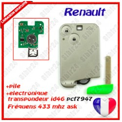 CARTE CLE VIERGE RENAULT 2 BOUTON