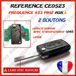 CLE VIERGE 0523 2 BOUTONS  LAME HU83  ASK